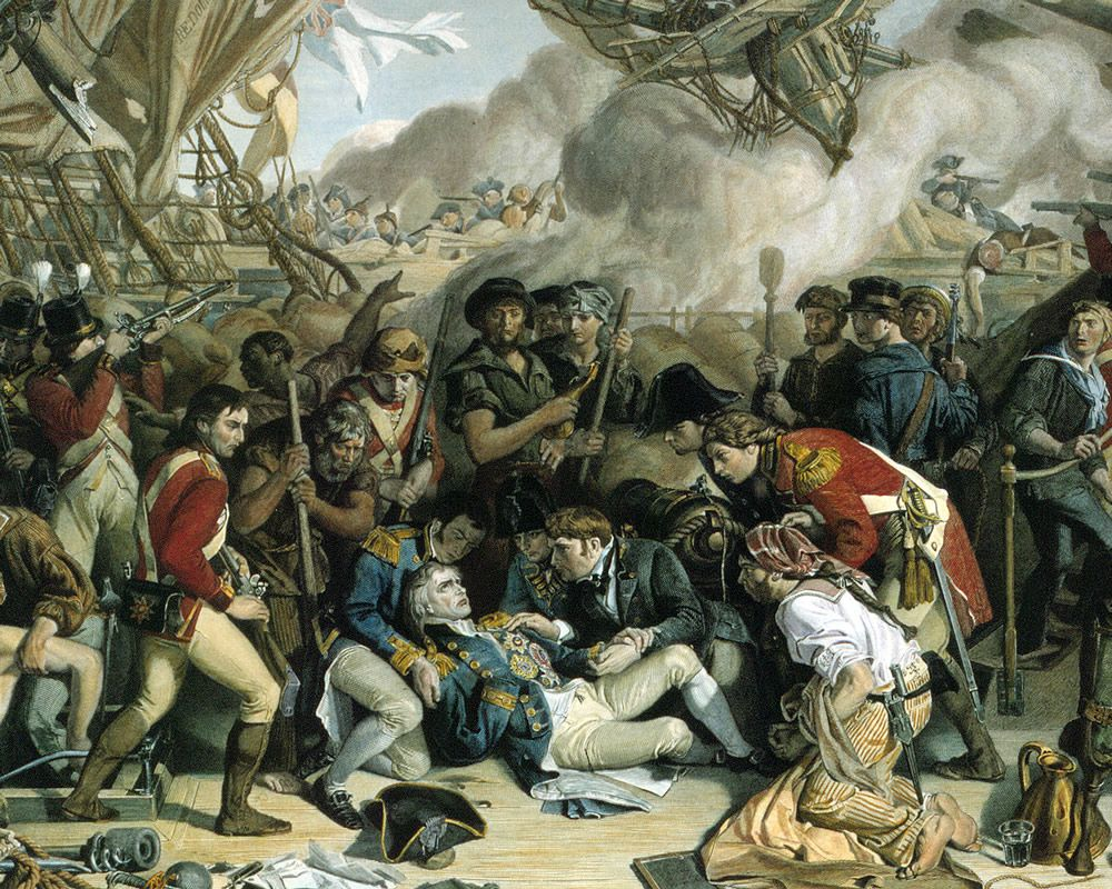 The Death of Nelson, Detail of the Lower Deck of the Victory, 1863-65 Art Print