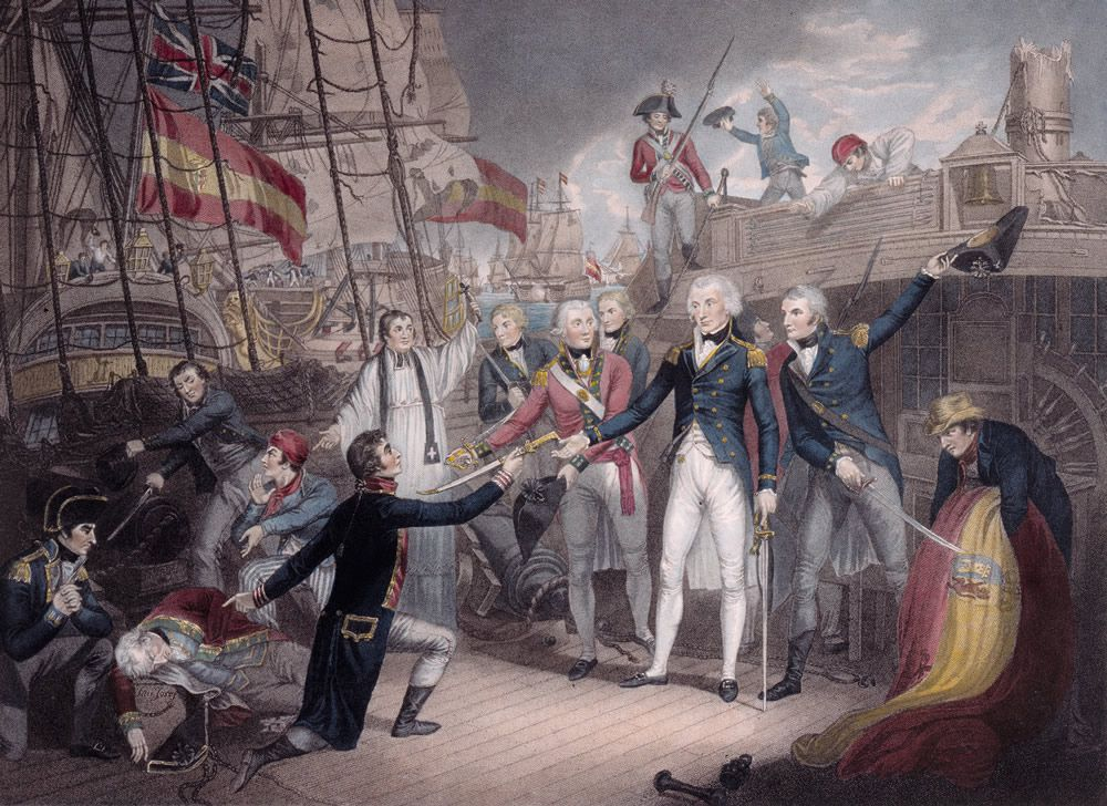 Admiral Nelson Receiving the Spanish Admiral's Sword, Battle of St. Vincent Art Print