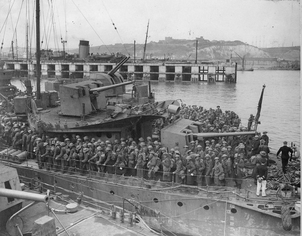 Army Personnel Disembarking from Destroyers at Dover Art Print
