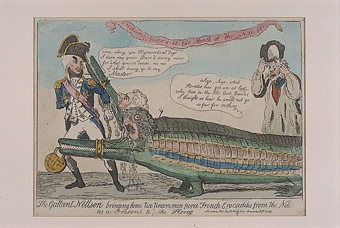 The Gallant Nelson Bringing Home Two Uncommon Fierce French Crocodiles from the Nile as a Present to the King Art Print