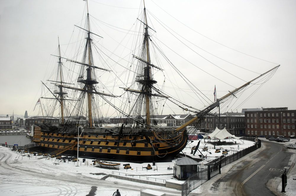 HMS Victory in the Snow Art Print