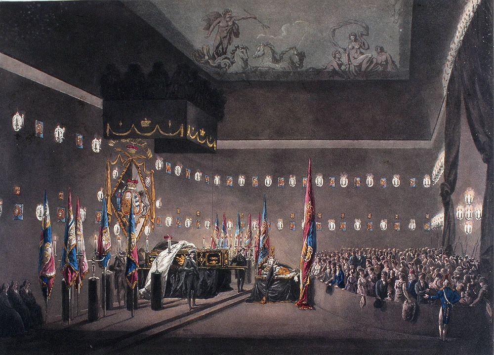 Remains of Lord Viscount Nelson Lying in State in the Painted Chamber at Greenwich Hospital Art Print