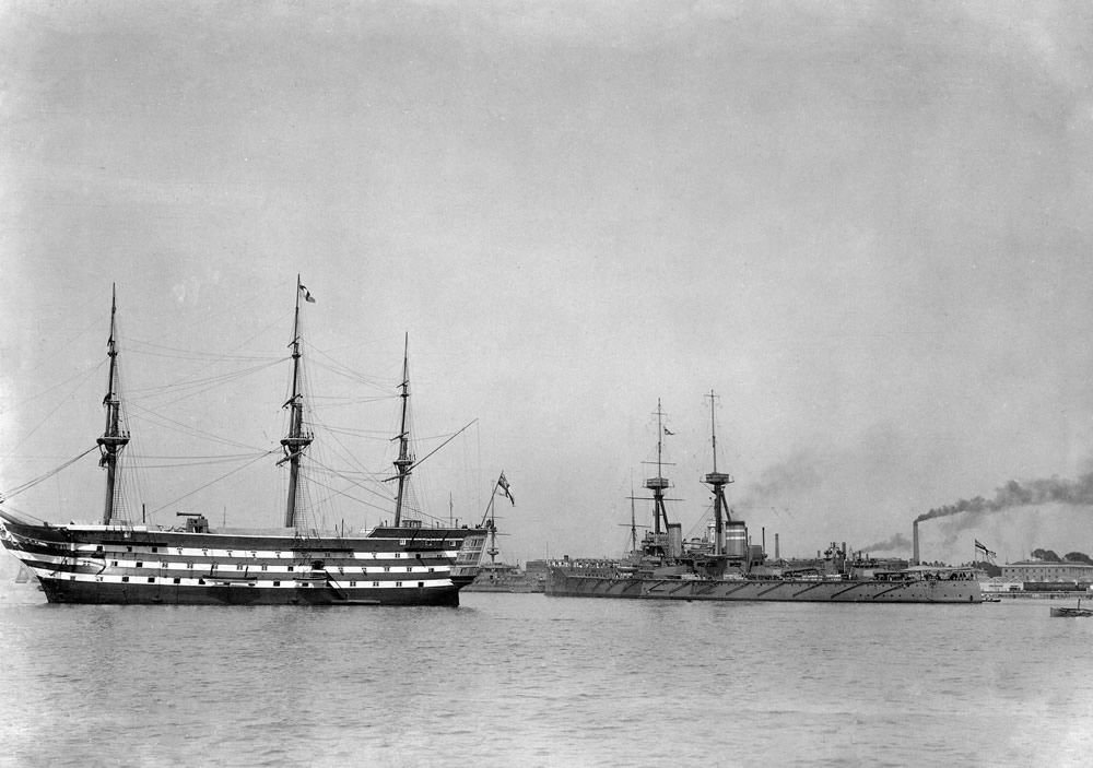 Hms St Vincent With Hms Victory In Portsmouth Harbour C