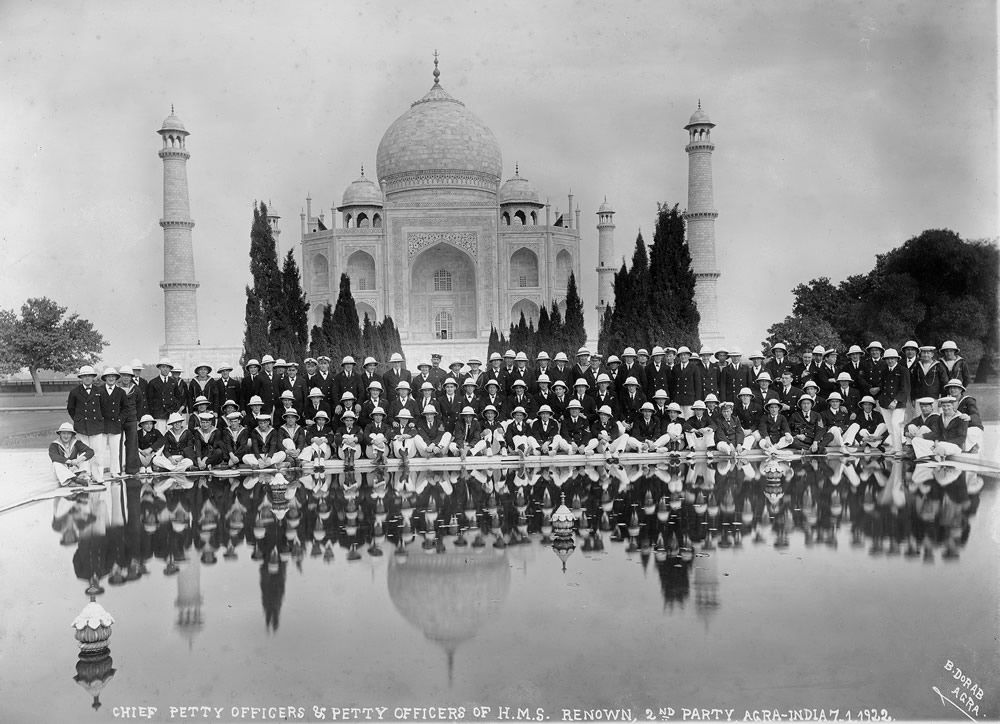 Officers from HMS Renown at the Taj Mahal Art Print