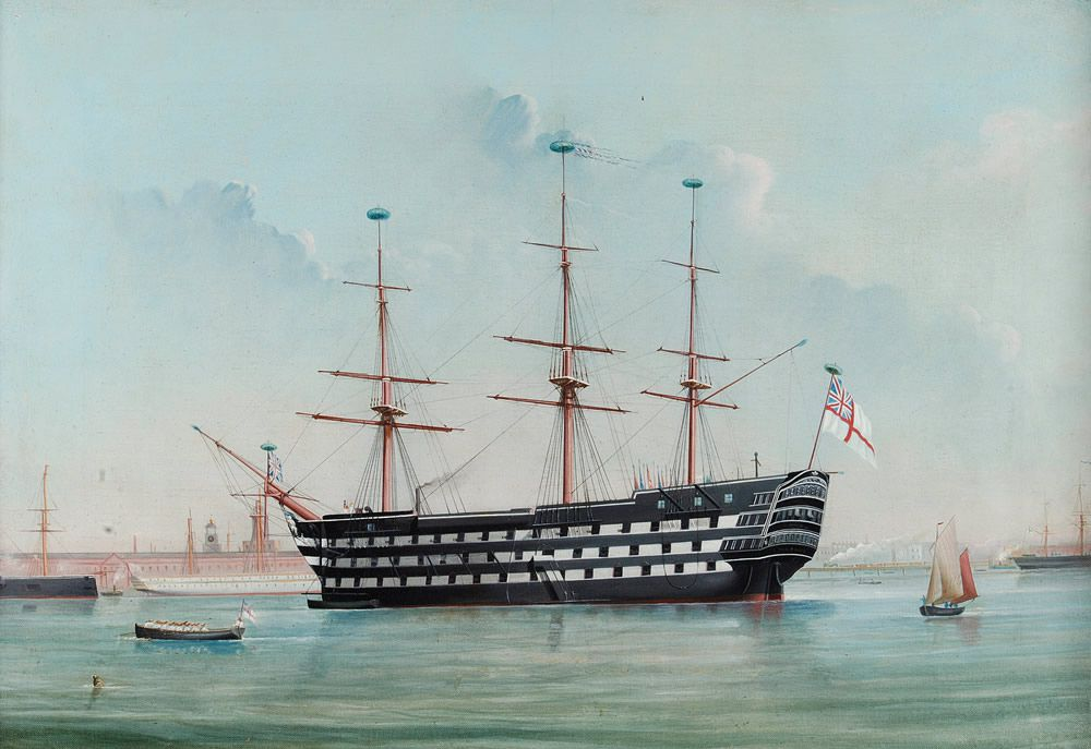 HMS Victory in Portsmouth Harbour, c.1860 Art Print