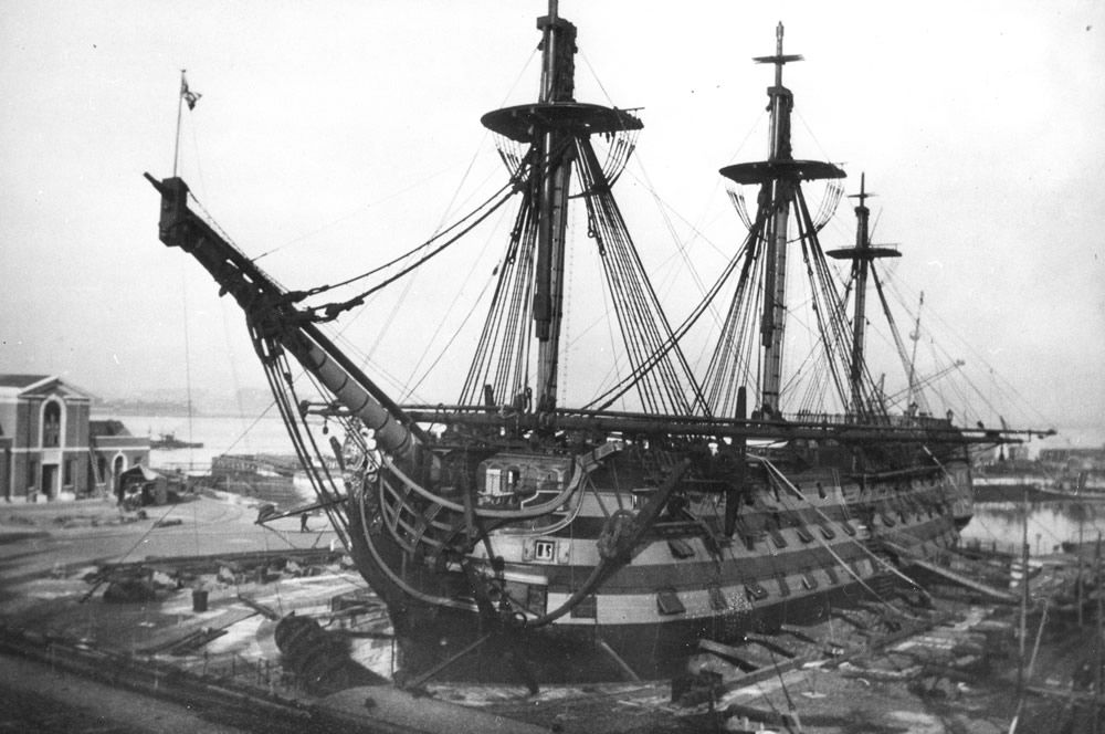 HMS Victory at Portsmouth Dockyard During the Second World War Art Print