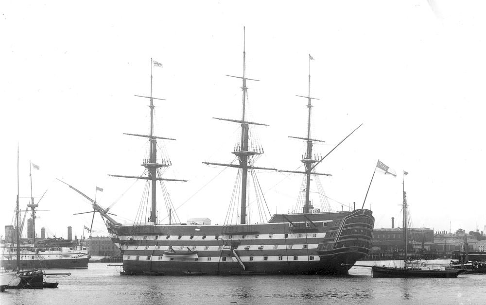 HMS Victory in Portsmouth Harbour, 1890s Art Print