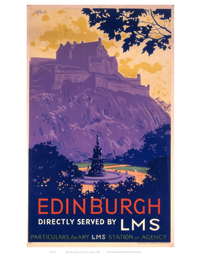 Edinburgh Purle Hill Art Print  Art Print