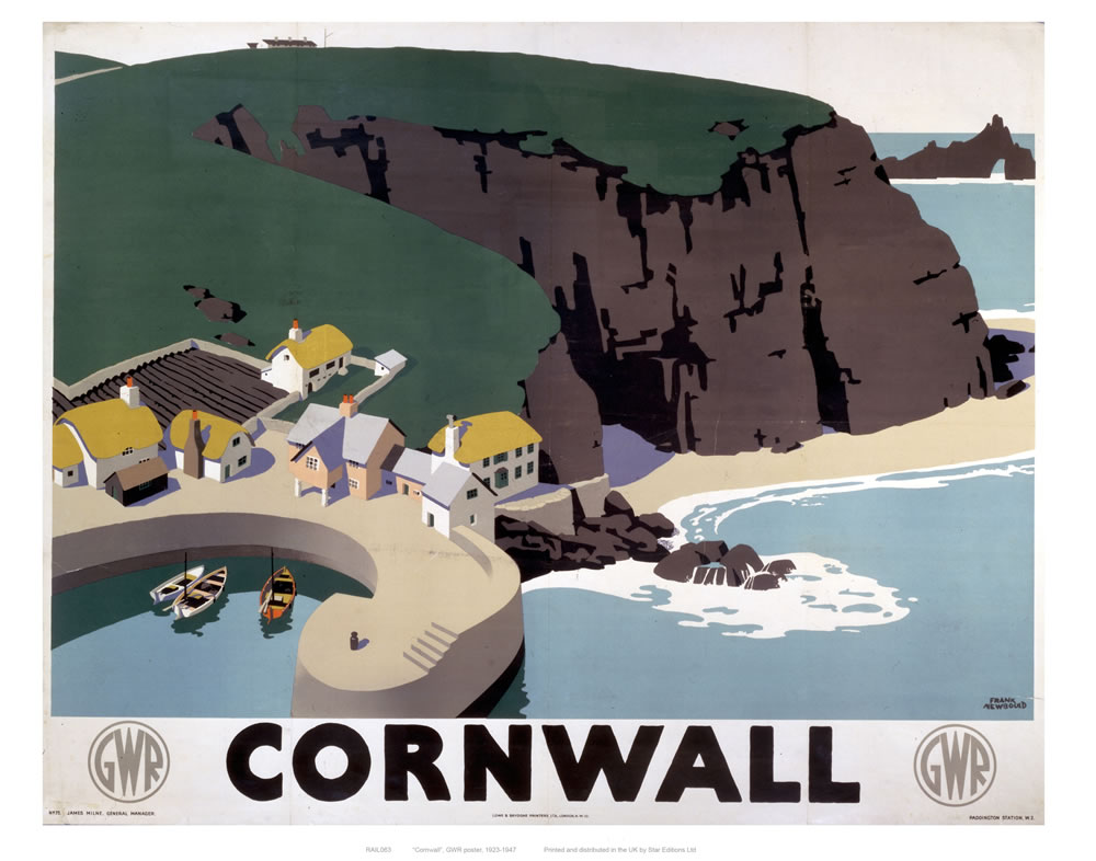 Cornwall Cliff and Harbour Art Print  Art Print