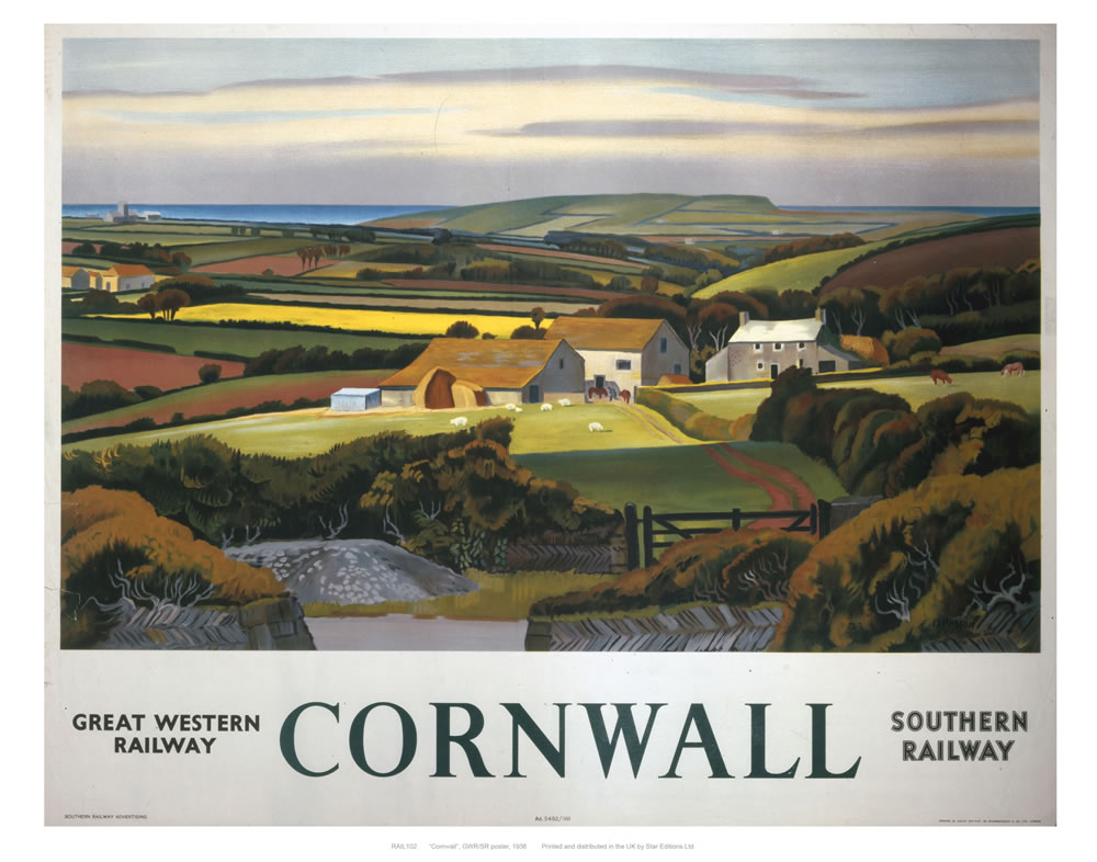 Cornwall Landscape and Cottage Art Print  Art Print