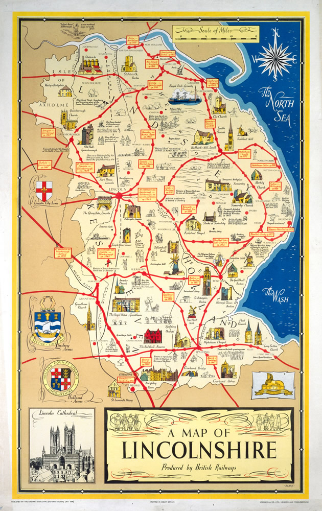 A Map of Lincolnshire - Lincoln Cathedral Art Print  Art Print