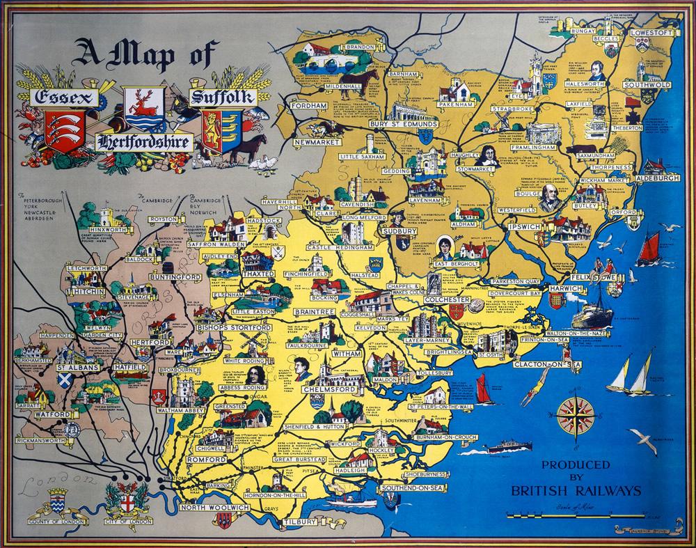 A Map of Essex, Suffolk, Hertfordshire Art Print