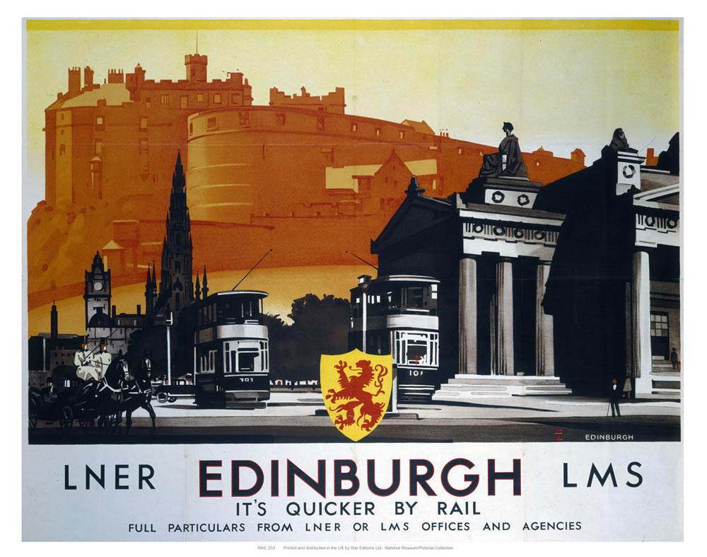 Edinburgh, its quicker by rail Art Print