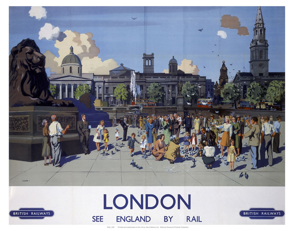 London, see England by rail Art Print  Art Print