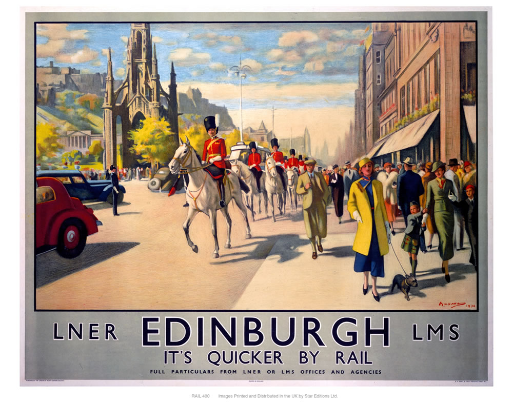 Edinburgh by rail Art Print  Art Print