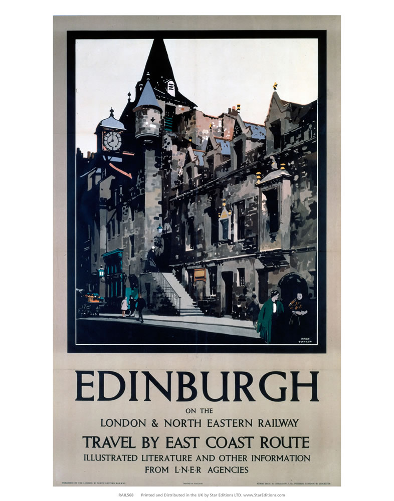 Edinburgh - London and North Eastern railway east coast LNER Poster Art Print  Art Print