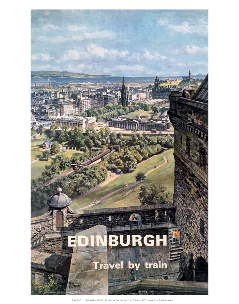 Edinburgh travel by train - Castle poster Art Print