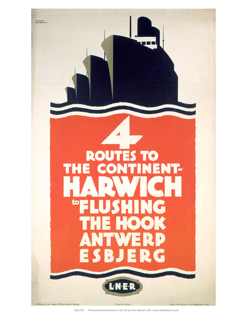 4 Route to the Continent - Harwich LNER Art Print  Art Print