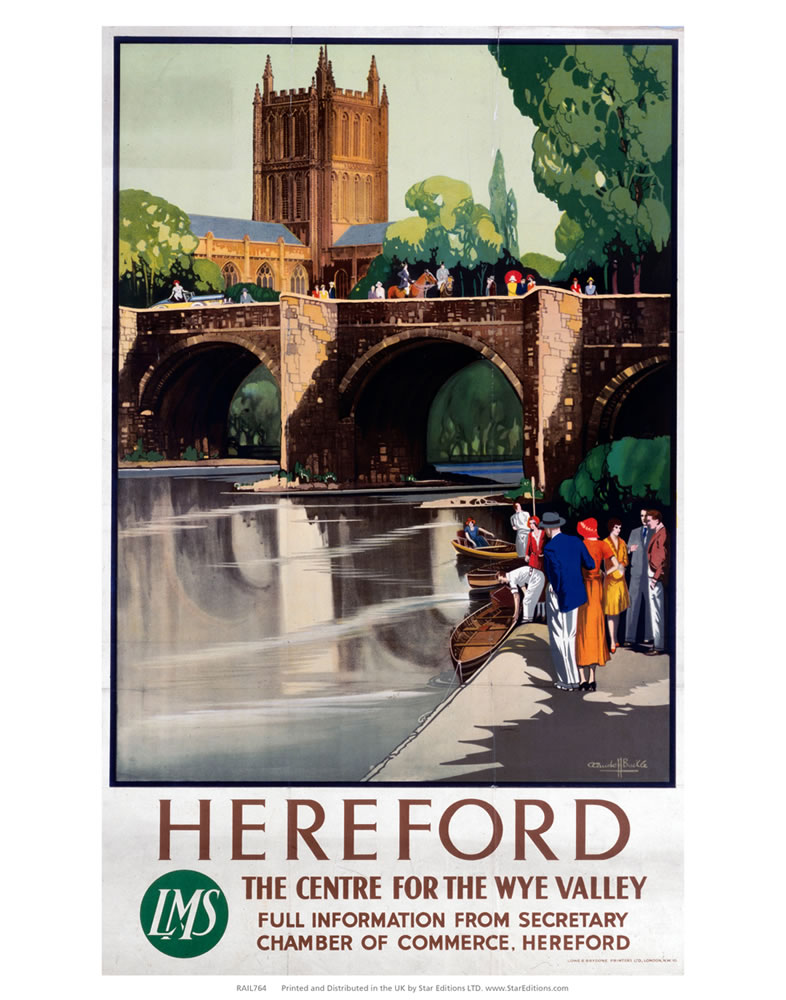 Hereford The Center for the Wye valley - LMS Art Print