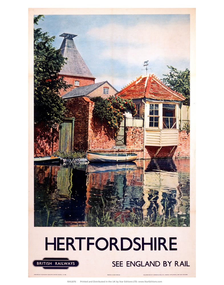 Hertfordshire - Waterside building England By Rail British Railways Art Print  Art Print