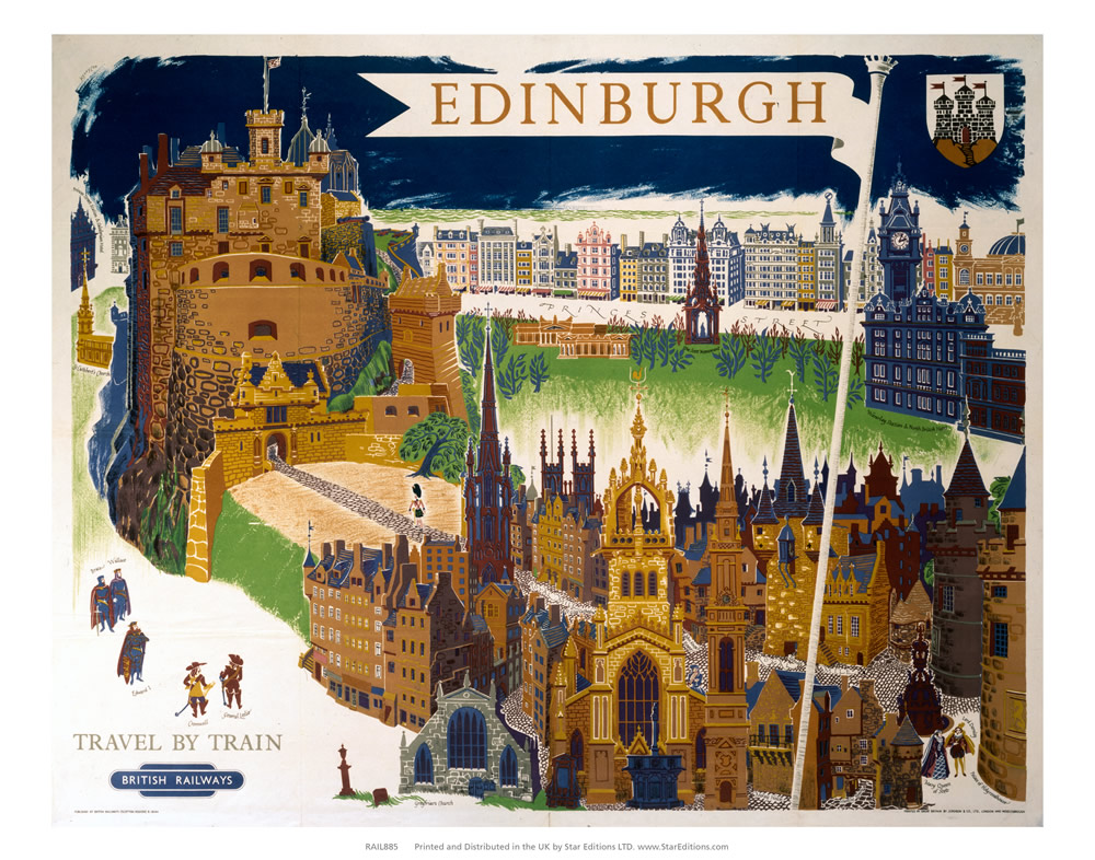 Edinburgh castle - Travel by train British Railways Art Print  Art Print