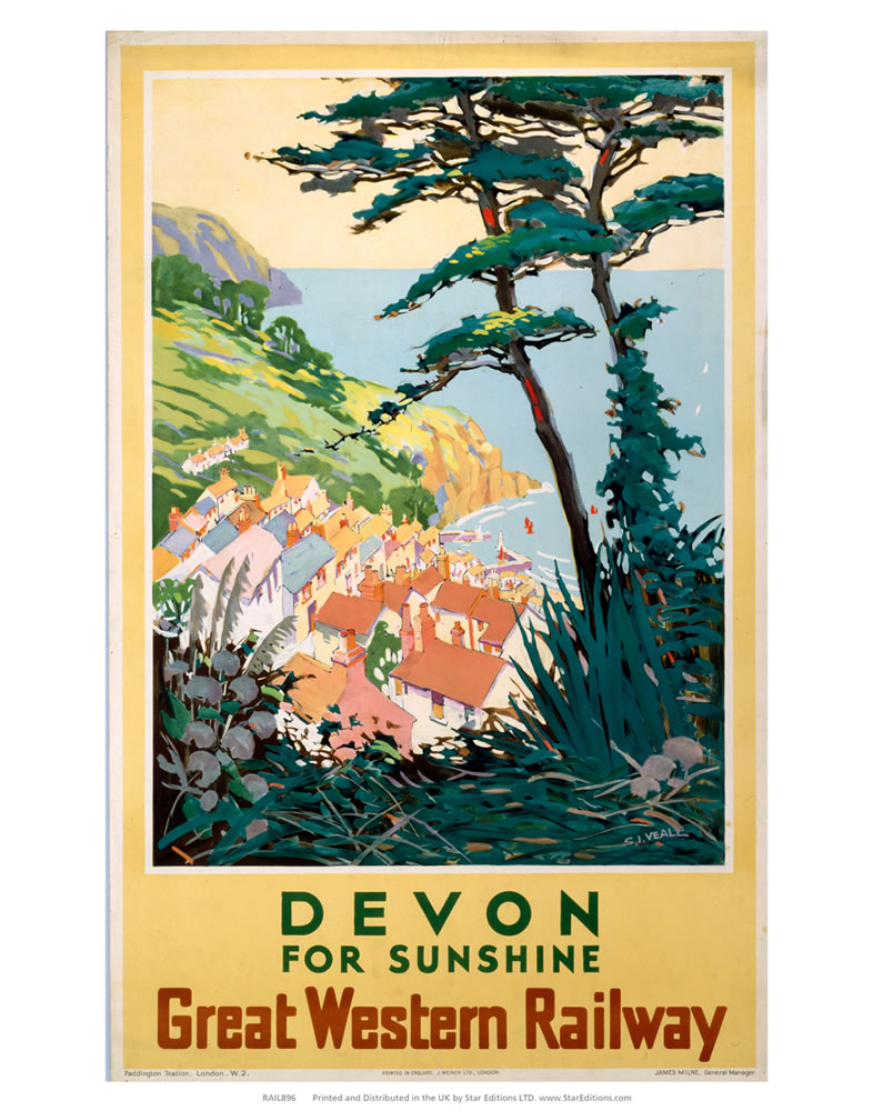 Devon for sunshine - Great Western Railway Art Print  Art Print