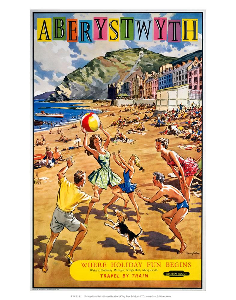 Aberystwyth - Family Playing on the beach Art Print