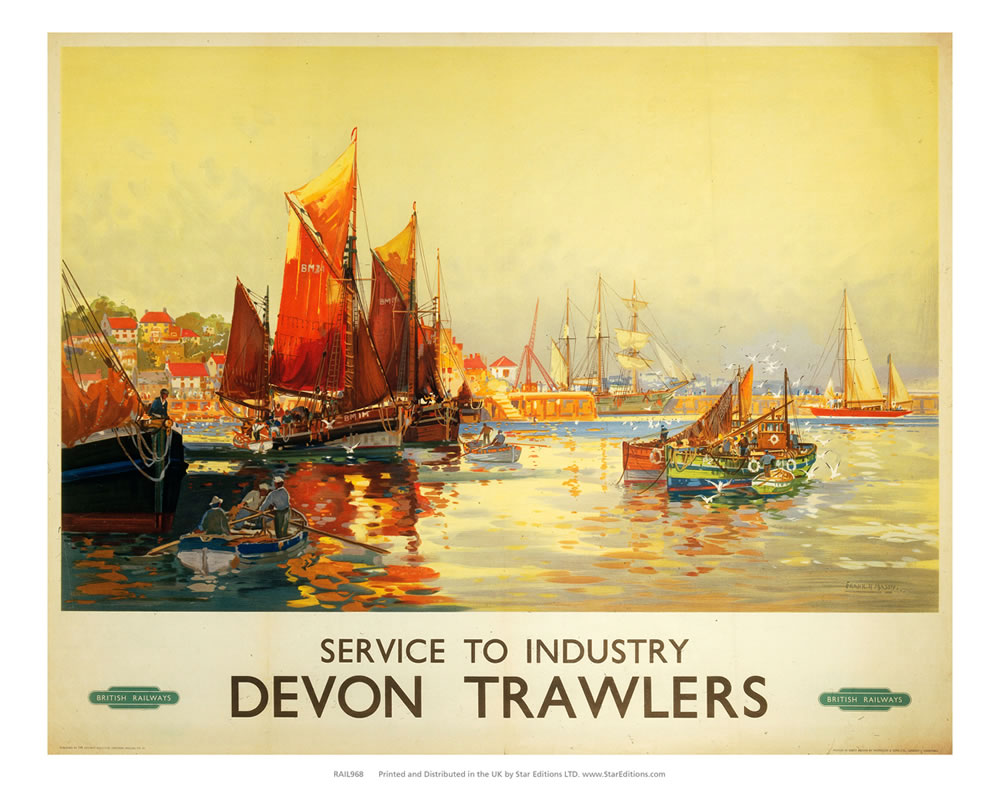 Devon Trawlers - Service to Industry Art Print  Art Print
