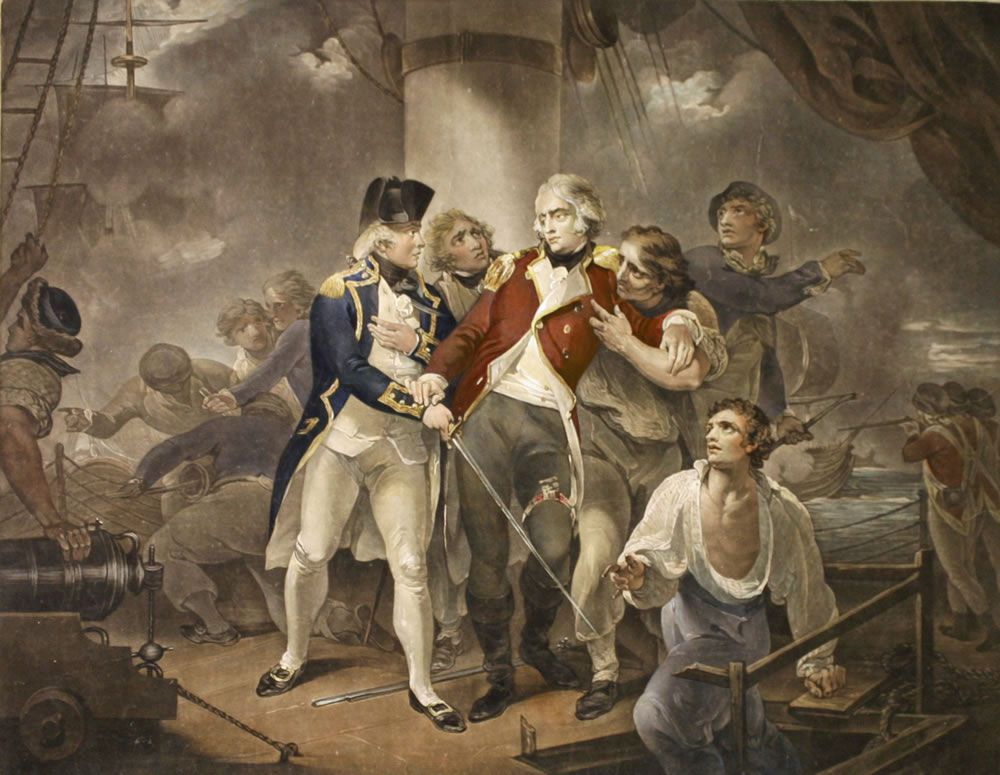 Capt. Trollope in the Glatton of 54 Carronades Engaging a French Squadron of 8 ships of war carrying 230 guns Art Print
