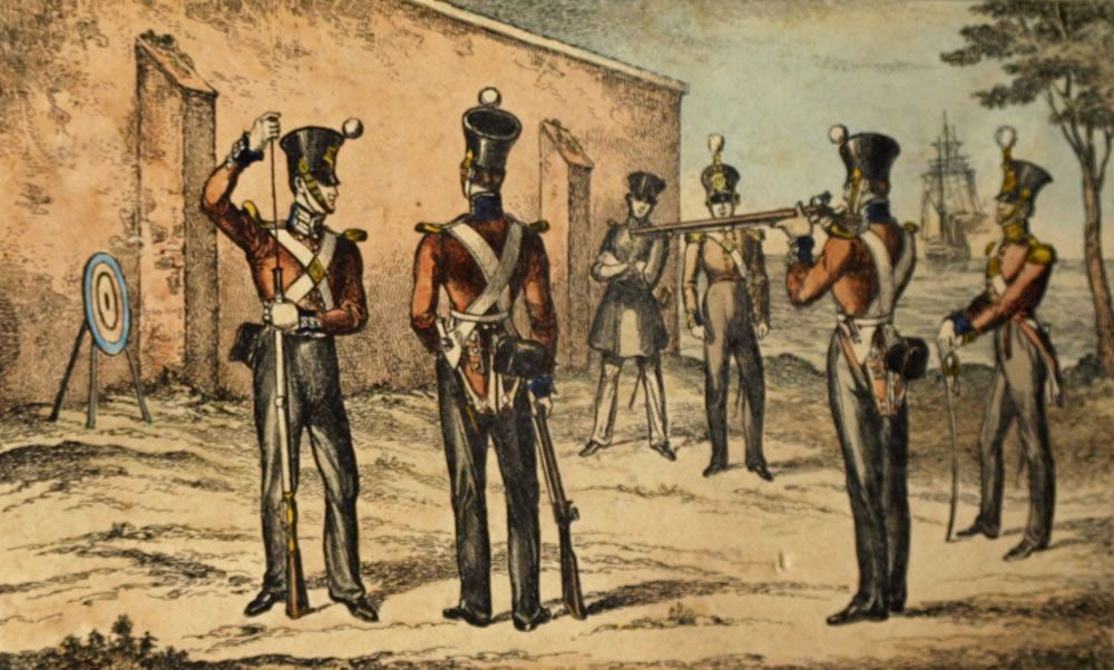 etching, present costume of the Marines at round target practice, c1835.. Art Print