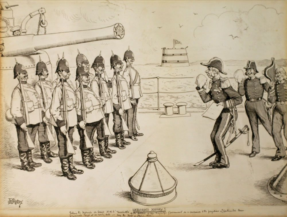 Unrecorded History! Telling to the Marines on board HMS Taradiddle the determination if Her Majesty's Government Art Print