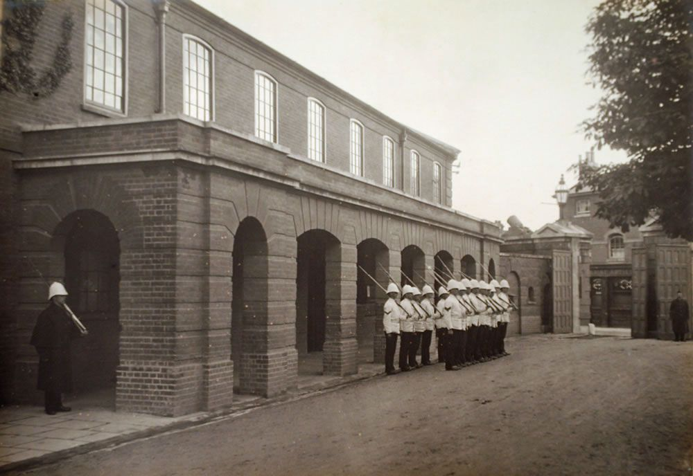 The Guard formed up outside the Guard Room at the Royal Marine Artillery.. Art Print