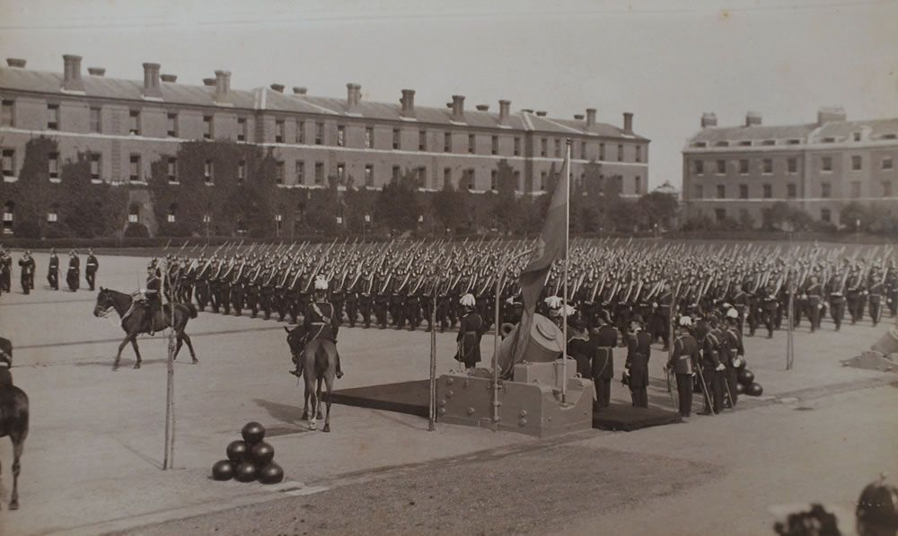The Royal Marine Artillery march past their Colonel in Chief, HRH Prince.. Art Print