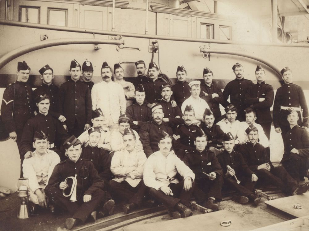 Royal Marine Detachment aboard an unidentified warship, location unknown,.. Art Print