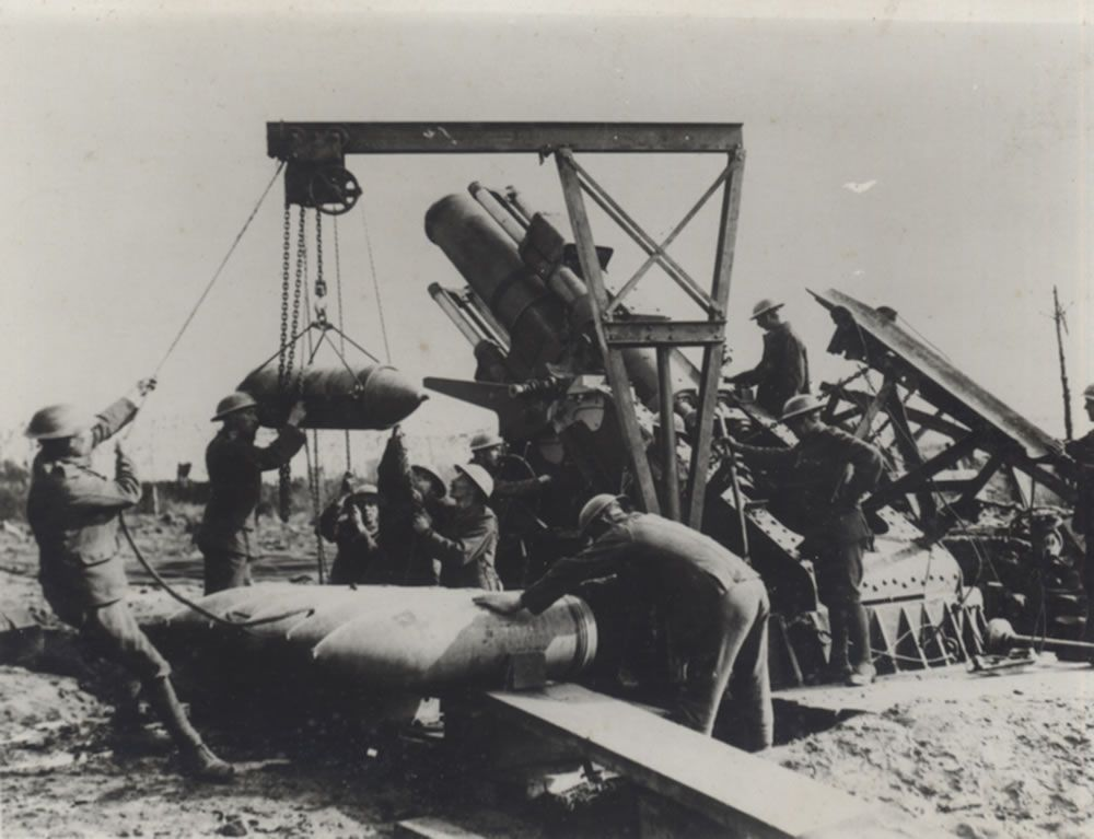 Royal Marine Artillery crew loading a 15-inch howitzer near the Menin Road.. Art Print