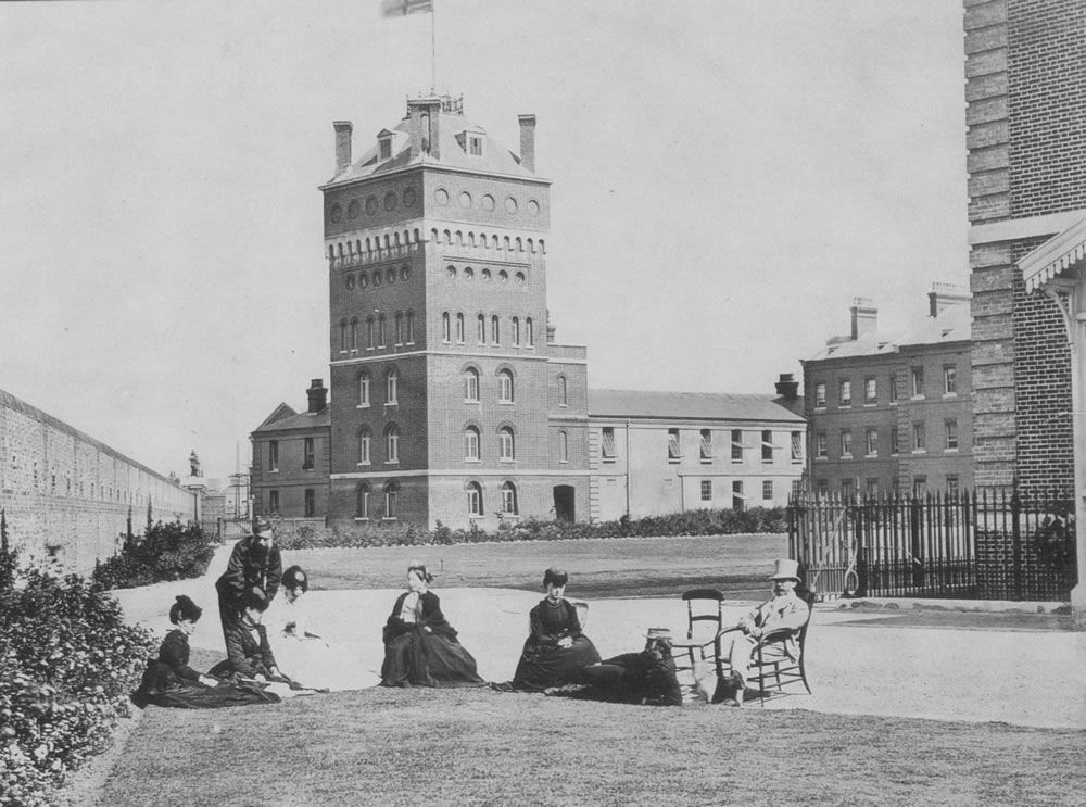 Eastney House and Clock Tower, Royal Marine Artillery Barracks, Eastney,.. Art Print