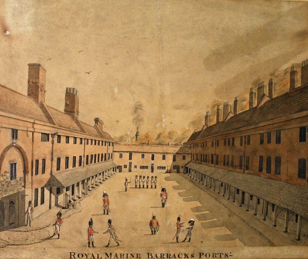 watercolour, Royal Marine Barracks, Portsmouth, Hampshire, undated. Art Print
