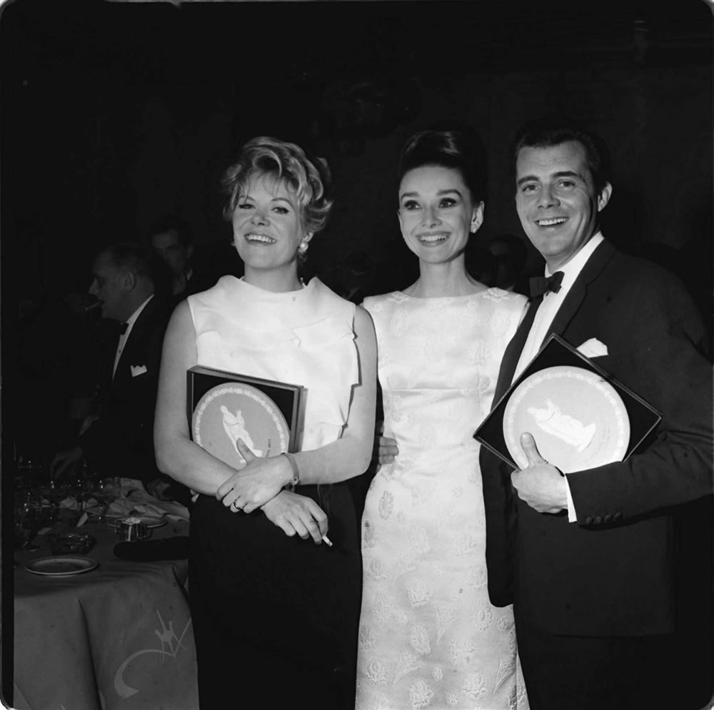 'Rachel Roberts, Audrey Hepburn and Dirk Bogarde' Art Print