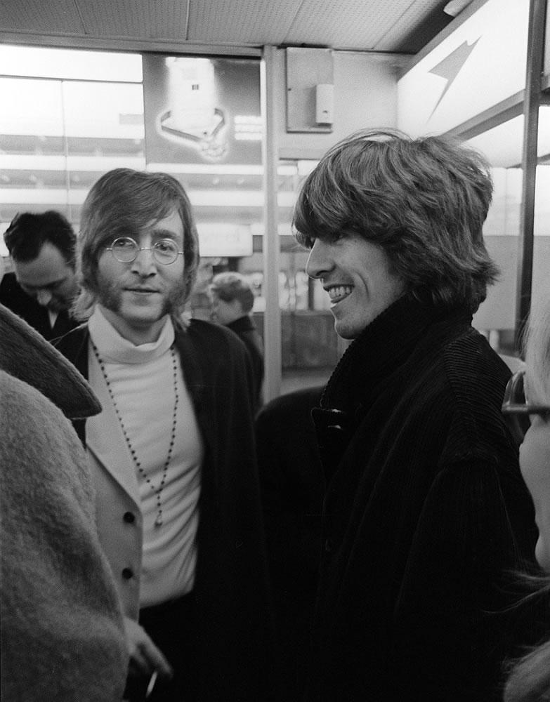 Beatles John Lennon and George Harrison.. Art Print