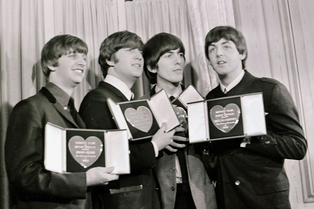 The Beatles with their Variety Club.. Art Print