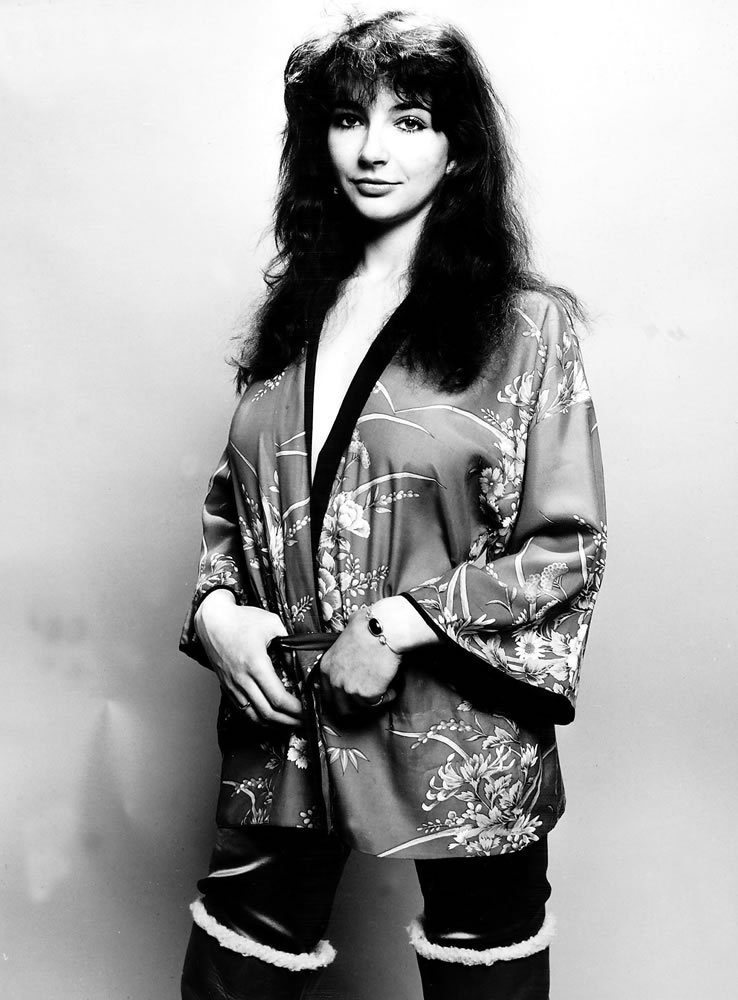 Pop singer Kate Bush poses in the studio wearing a kimono Art Print