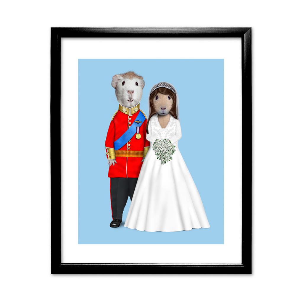 Mr & Mrs Pets Rock Black Framed Art Print
