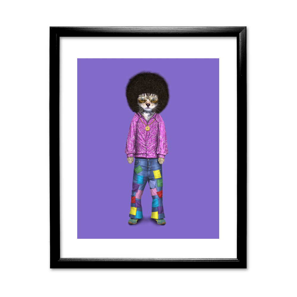 Disco Pets Rock 11' by 14' Black Framed Art Print