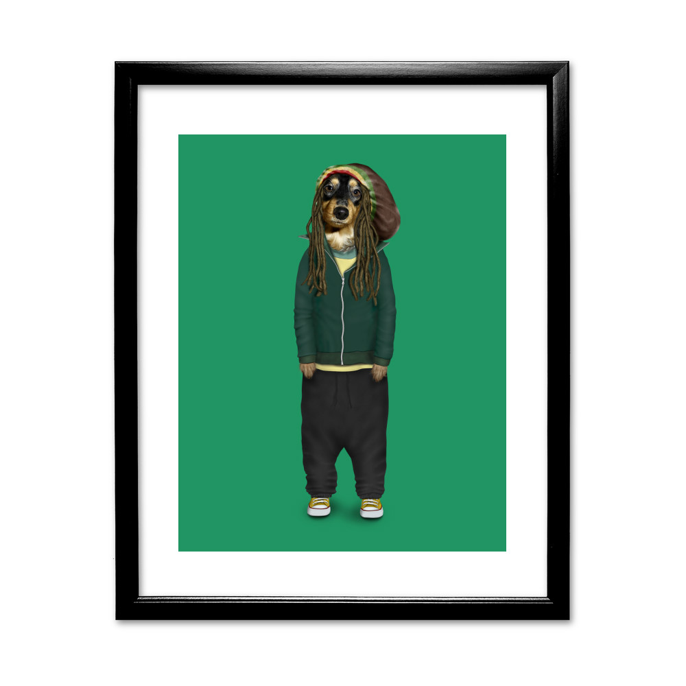 Reggae Pets Rock 11' by 14' Black Framed Art Print