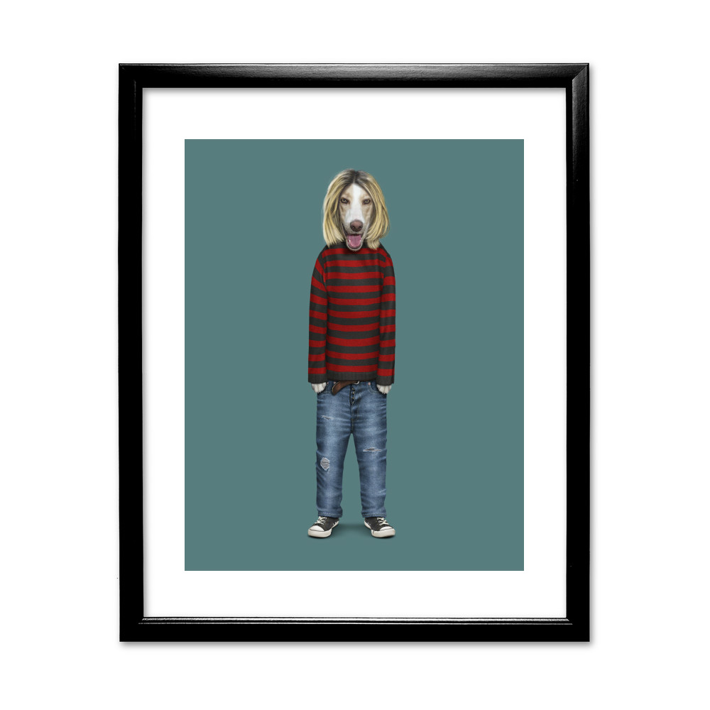 Grunge Pets Rock 11' by 14' Framed Black Art Print