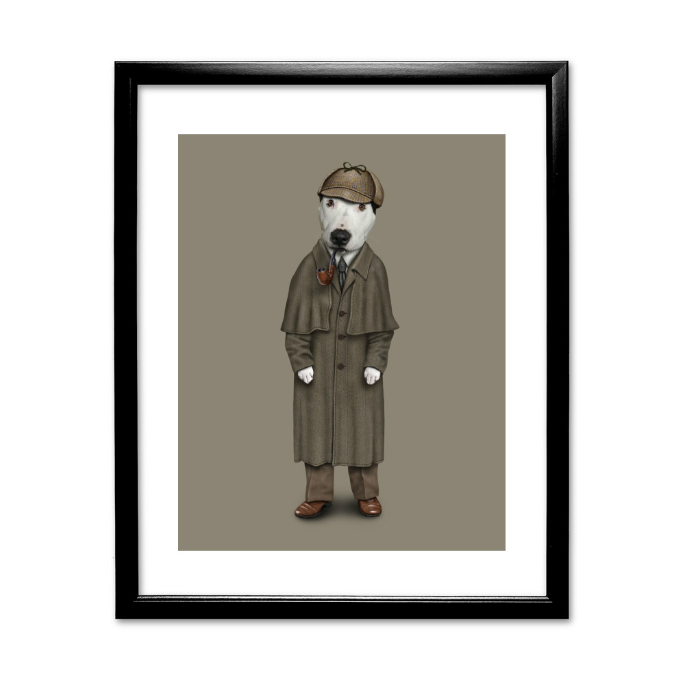 Detective Pets Rock 11' by 14' Black Framed Art Print