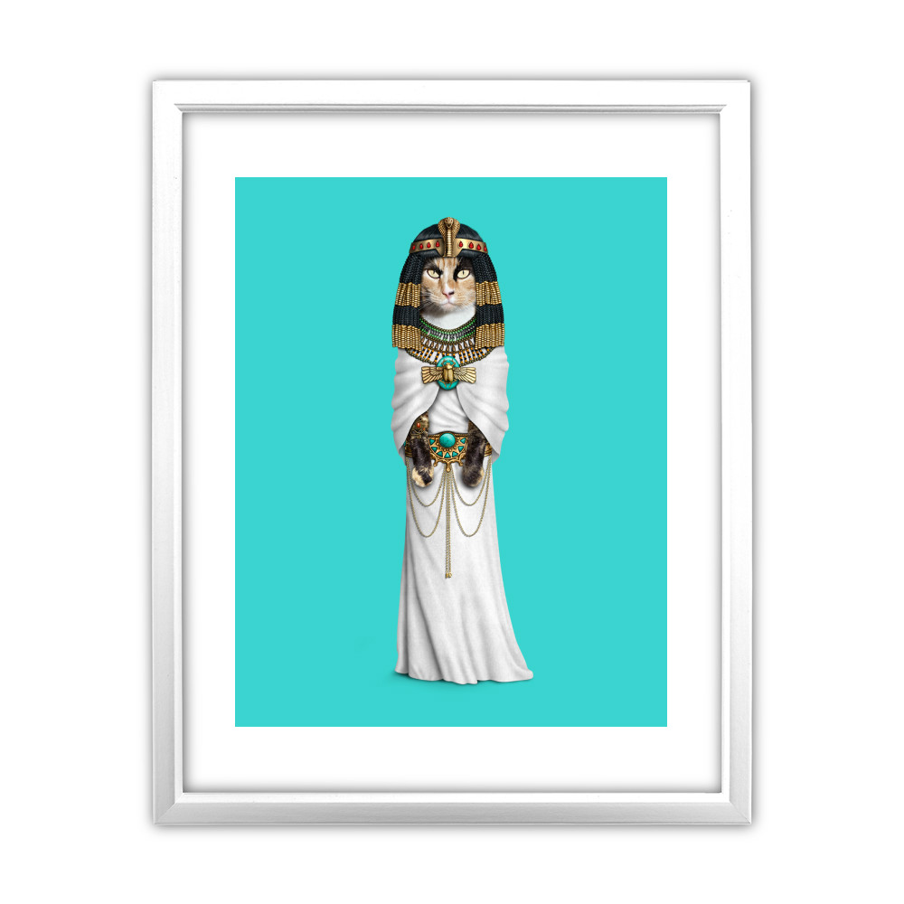 Cleopatra Pets Rock 11' by 14' White Framed Art Print