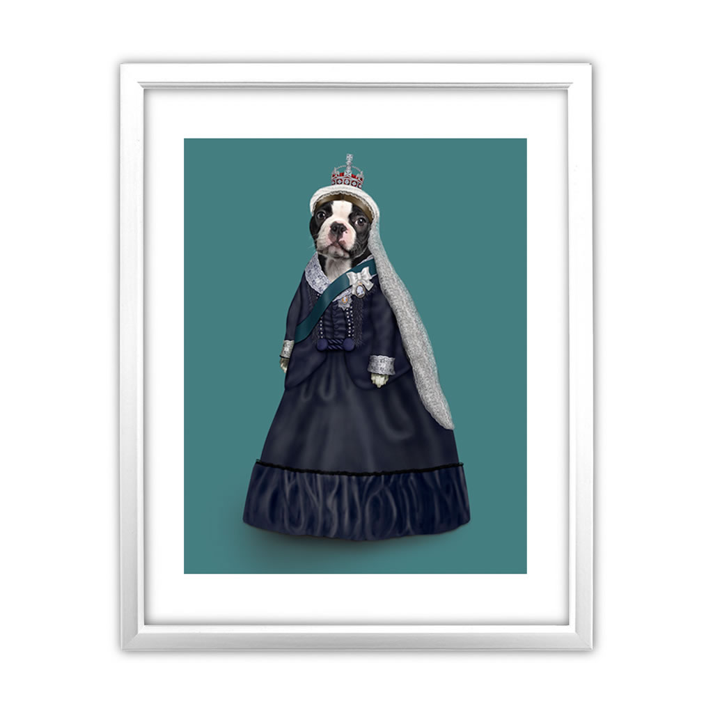 Queen Vic Pets Rock 11' by 14' White Framed Art Print