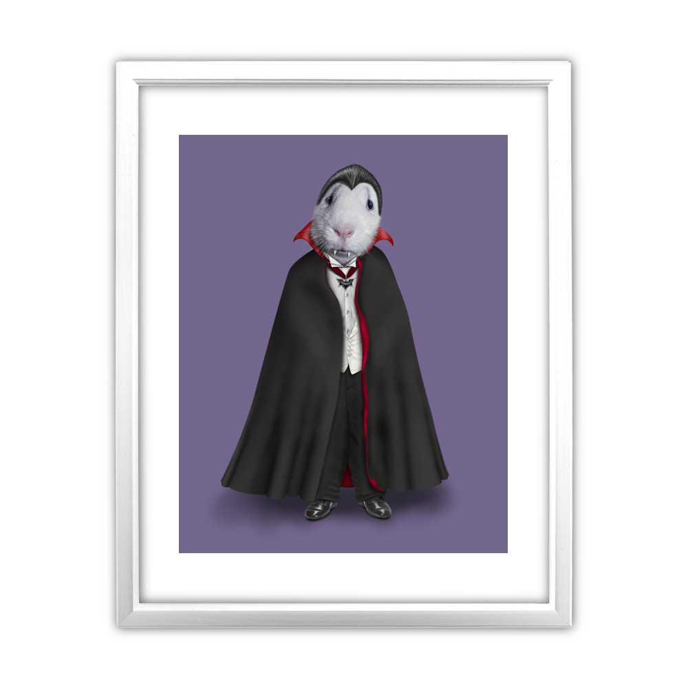 Dracula Pets Rock 11' by 14' White Framed Art Print