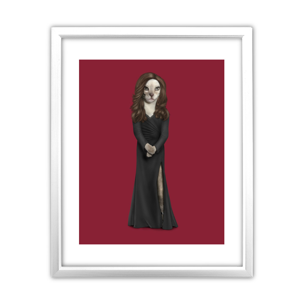 Hollywood Lady Pets Rock White Framed Art Print